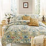 Cozy Line Home Fashions Luxury Classic Bedding Quilt Set, 100% Cotton Beige Blue Floral Pink Flower Bohemian Style Reversible