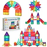 Star Magnetic Tiles 110pcs Set Including One Car, Stronger Magnets, Star Facets, Reinforced by Rivets, Clear Colours Building