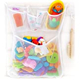 Tub Cubby Bath Toy Organizer + Ducky - Mesh Net Bin - Baby Bathtub Game Holder with Suction & Sticker Hooks Toddler Play Bath