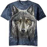 The Mountain Warrior Wolf Adult T-Shirt, Grey and Blue