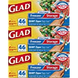 Glad Food Storage and Freezer 2 in 1 Zipper Bags, Quart, 46ct (Pack of 3)