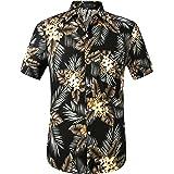 SSLR Men's Summer Cotton Button Down Short Sleeve Hawaiian Shirt