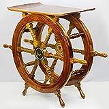 24猫 Solid Wood and Brass Ship Wheel Table