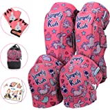 Innovative Soft Kids Knee and Elbow Pads with Bike Gloves - Toddler Protective Gear Set w/Mesh Bag& Sticker CSPC Certified -