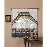 Achim Home Furnishings Rooster Tier and Swag Set, 57-Inch by 36-Inch, Burgundy