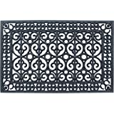 """A1 Home Collections A1HCCL67 First Impression Rubber Paisley, Beautifully Hand Finished, Doormat, 24"""" L X 36"""" W, Black 24"""" X"""