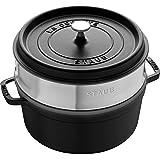 Staub 1004360 Round Cocotte with Steamer, 26 cm, Black