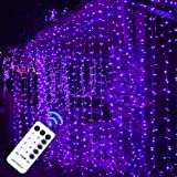 MAGGIFT 304 LED Curtain String Lights, 9.8 x 9.8 ft, 8 Modes Plug in Halloween Fairy Light with Remote Control, Christmas, Ba