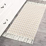 Small Decorative Rug Bedroom, Tribal Kitchen Rug 2'x4.3', Tassel Boho Bath Rug Runner, Yellow Woven Rug for Kitchen