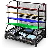Simple Trending 5-Trays Mesh Desktop File Organizer Vertical Document Letter Tray Holder for Office Home, Black With Drawer O