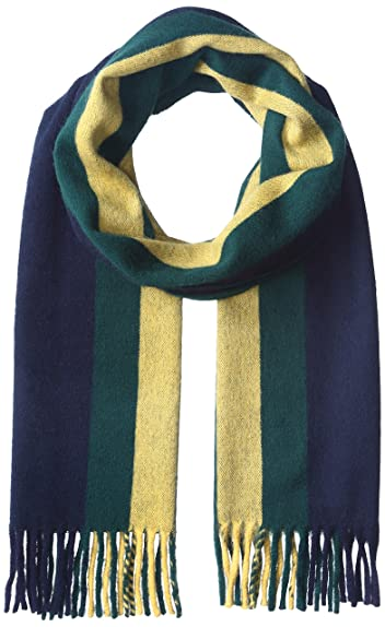 Wool Angora Stripe Scarf 11-45-0395-145: Navy / Yellow