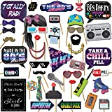 1980s Throwback 80s Party Theme Photo Booth Props Decorations, 41 Pieces with Wooden Sticks and Strike a Pose Sign by Outside