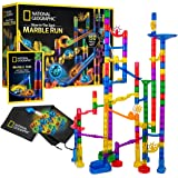 NATIONAL GEOGRAPHIC Glowing Marble Run – 80 Piece Construction Set with 15 Glow in The Dark Glass Marbles & Mesh Storage Bag,