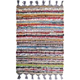 100% Cotton Rag Rug 24x36 - Multicolor Chindi Rug - Hand Woven & Reversible for Living Room Kitchen Entryway Rug -Multi Color