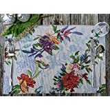 DaDa Bedding Tropical Paradise Placemats - Set of 4 Tapestry Elegant Nature Birds Floral Garden - Decorative Cotton Linen Wov