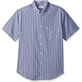 Lacoste Men's Short Sleeve Gingham Check Poplin Reg Fit Woven Shirt, CH3941