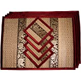 Placemat and Coaster 4 Packs 2 Sizes Large (Medium Burgundy)