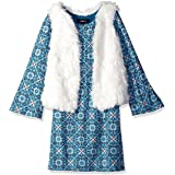 Amy Byer Big Girls' Long Sleeve Print Dress with Faux Fur Vest, Pat