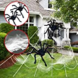 "JOYIN Halloween Giant Spider Web Set Includes Two 63"" Spiders, 23Ft Triangular Spider Web, 120g Stretch Cobweb for Halloween"