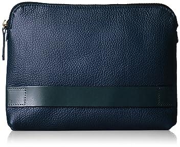 Grain Leather Clutch Bag 1332-699-4702: Navy