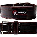 Dark Iron Fitness Genuine Leather Pro Weight Lifting Belt for Men and Women - Durable Comfortable and Adjustable with Buckle