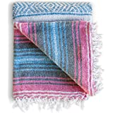 Mexican Blanket Authentic Falsa Thick Soft: Woven Acrylic Yoga Serape or as Beach Throw, Picnic, Camping, Travel, Hiking, Adv