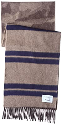 Wool Angora Camouflage Stripe Scarf 11-45-0394-145: Brown / Navy