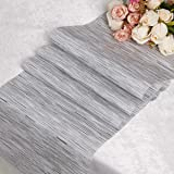 """DOLOPL PVC Gray and White Table Runners 12""""×72"""" Easy to Clean Non-Slip Heat Resistant Modern Table Runner for Outdoor Indoor"""