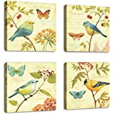 Natural art - Bird and flower Painting 4 pcs Wall Art Lanscape Painting Print on Canvas Wall Decoration Wrapped with Wooden F