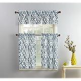 "No. 918 Barker Geometric Microfiber 3pc Kitchen Curtain Set, White, 54"" x 36"""