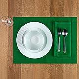 D'Moksha Homes 100% Pure Linen Hemstitch Placemats - Glorious Green Set of 4, 14 x 19 Inch Placemats, European Flax Natural F