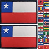 JBCD 2 Pack Chile Flag Patch Chilean Flags Tactical Patch Pride Flag Patch for Clothes Hat Patch Team Military Patch