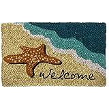 "Entryways Starfish Welcome Handmade, Hand-Stenciled, All-Natural Coconut Fiber Coir Doormat 18"" X 30"" x .75"""