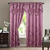 """Elegant Comfort Aurora Jacquard Look Curtain Panel Set with Attached Valance 54"""" X 84 inch (Set of 2), Lilac"""