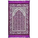 Plush Velvet Islamic Prayer Rug Janamaz Sajjadah Muslim Namaz Seccade Turkish Prayer Mat Carpet Ipek Floral with Prayer Cap