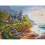 Maydear クロスステッチキットは、初心者のための刺繡スターターキットのフルレンジを刻印しましたDIY 14 CT2ストランド-海辺の灯台,53×42cm