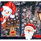 MISS FANTASY 142 PCS 4 Sheet Christmas Window Clings Stickers for Glass Decals Reuseable for Xmas Christmas Party Decorations