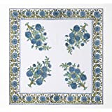 AVRIT Cloth Dinner Napkins Soft Cotton Set of 4 Blue Block Printed Pieces  Washable  for Dinner, Weddings, Easter   20 INCH X