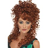 Smiffys Women's Saloon Girl Wig Auburn Long and Curly