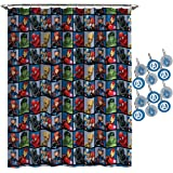 Jay Franco Marvel Avengers Team Shower Curtain & 12-Piece Hook Set & Easy Use (Official Marvel Product)