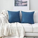 (46cm x 46cm,2 Pieces, S-Navy Blue) - Kevin Textile Faux Linen Home Decorative Hand Made Cushion Cover Pillowcase for Nap, Hi