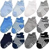 Baby Non Slip Grip Toddler Socks - Ergonomic Anti Skid Sole Grips For Boys Girls Toddlers Kids Infant - 12-36 Months Soft & B