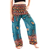 Noonew Women's Smocked Waist Yoga Pants Boho Hippies Harem Bohemian Clothing Styles