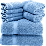 Luxury 8 Piece Bath Towel Set White - 700 GSM Thick Combed Cotton Hotel Quality Highly Absorbent Towels - 2 Bath Towels, 2 Ha