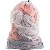 Commercial Mesh Laundry Bag - 24 x 36 - Sturdy white mesh material with drawstring closure. Ideal machine washable mesh laund