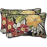 "Pillow Perfect Outdoor/Indoor Clemens Noir Lumbar Pillows, 11.5"" x 18.5"", Black, 2 Pack"