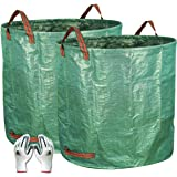 Gardzen 2-Pack 132 Gallons Gardening Bag with Double Bottom Layer - Extra Large Reuseable Heavy Duty Gardening Bags, Lawn Poo