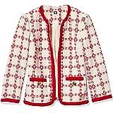 ANNE KLEIN Women's Windowpane Check Collarless Jacket with Braided Trim, Anne White/Poppy