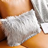 Foindtower Lumbar Fluffy Faux Fur Square Decorative Throw Pillow Cover Plush Soft Cushion Cover Pillowcases for Livingroom Co