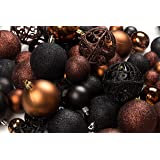 100 Brown And Black Christmas Ornament Balls Shatterproof+ 100 Metal Ornament Hooks Hanging Ornaments For Indoor/Outdoor Chri